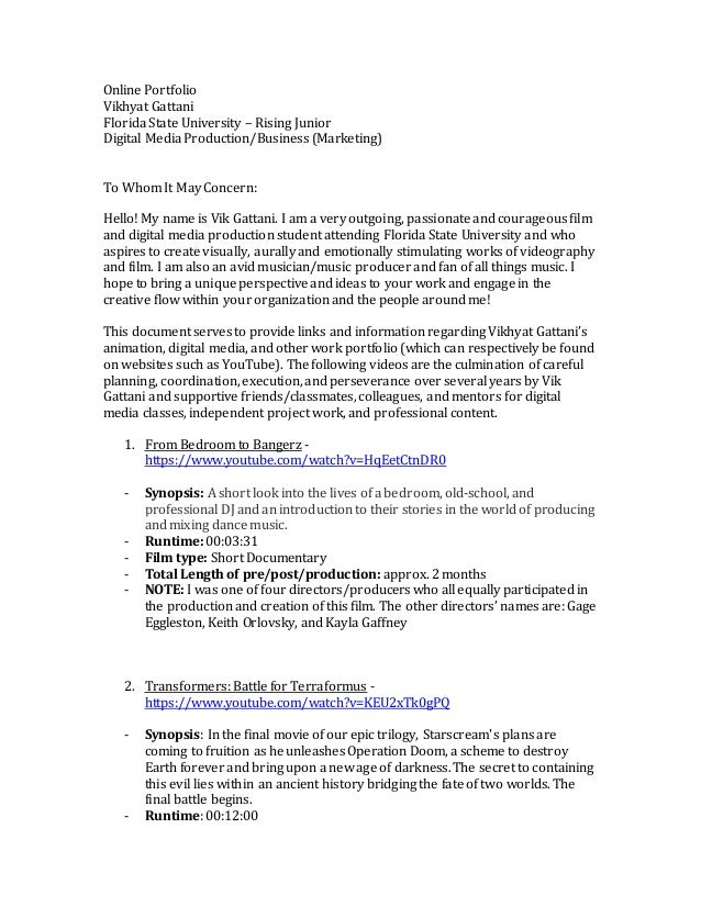 Online Portfolio Cover Letter. Online Portfolio Vikhyat Gattani Florida  State University U2013 Rising Junior Digital Media Production/Business ...  Cover Letter Online