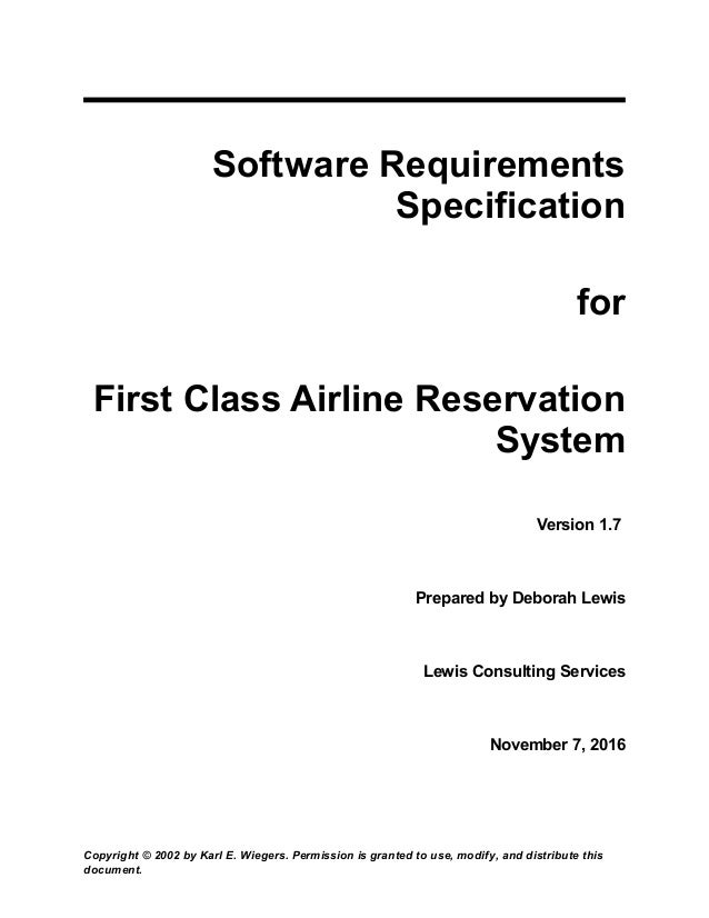 airline reservation software requirement specification