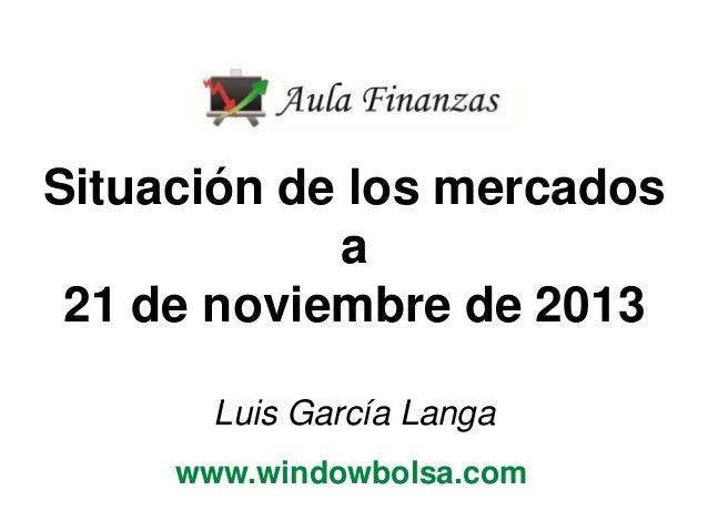 Situación de los mercados a 21 de noviembre de 2013 Luis García Langa www.windowbolsa.com