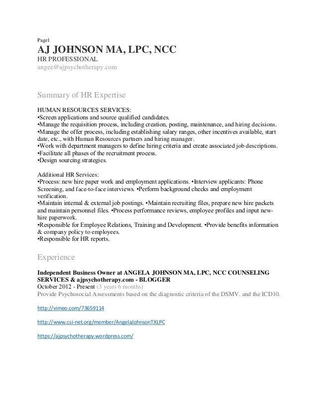 Page1 AJ JOHNSON MA, LPC, NCC HR PROFESSIONAL Angee@ajpsychotherapy.com  Summary ...