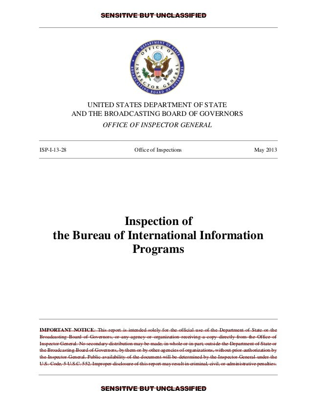 SENSITIVE BUT UNCLASSIFIED SENSITIVE BUT UNCLASSIFIED UNITED STATES DEPARTMENT OF STATE AND THE BROADCASTING BOARD OF GOVE...
