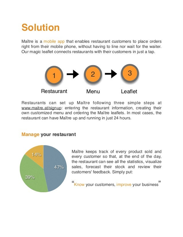 Solution Maître is a mobile app that enables restaurant customers to place orders right from their mobile phone, without h...
