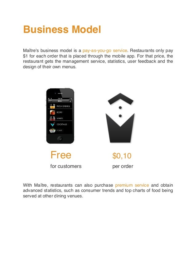 Business Model Maître's business model is a pay-as-you-go service. Restaurants only pay $1 for each order that is placed t...