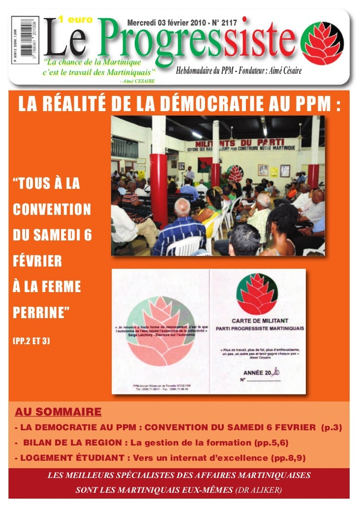 """1 euro        Le Progressiste                                 Mercredi 03 février 2010 - N° 2117        """"La chance de la M..."""