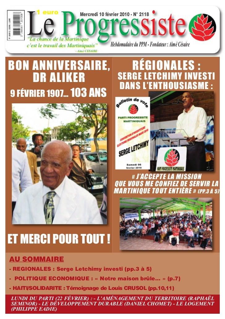"1 euro      Le Progressiste                               Mercredi 10 février 2010 - N° 2118      ""La chance de la Martini..."