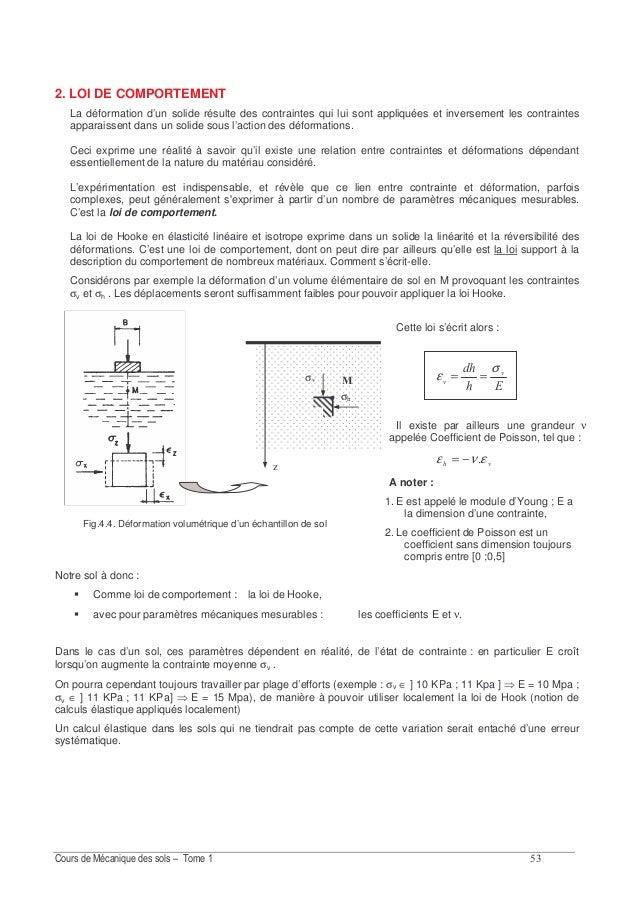 ?E 4.2.3. Exemple de calcul de contraintes Soit un sol indéfini à surface horizontale, submergé, l'eau «étant à la hauteur...