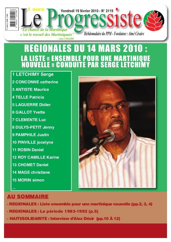 """1 euro        Le Progressiste                                 Vendredi 19 février 2010 - N° 2119        """"La chance de la M..."""