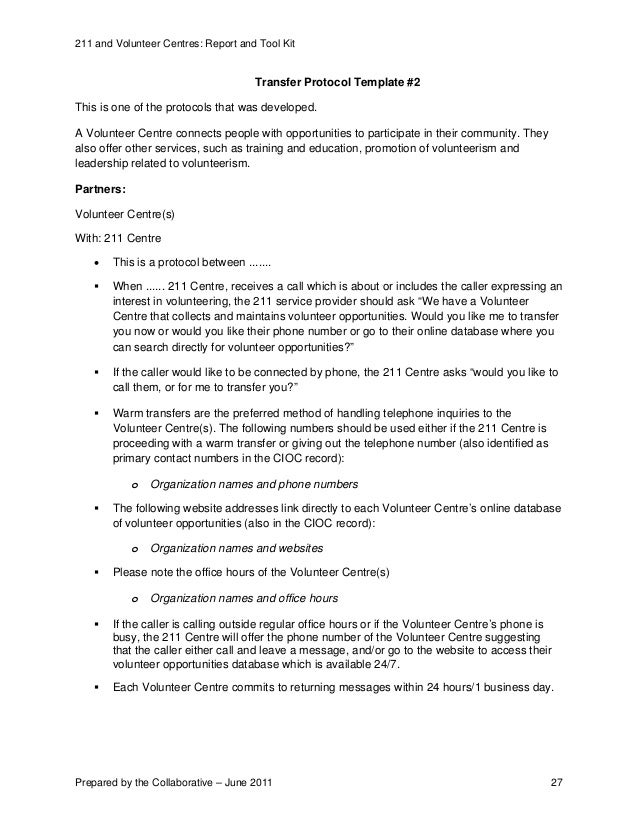 211 and volunteer centre services report and toolkit june 2011