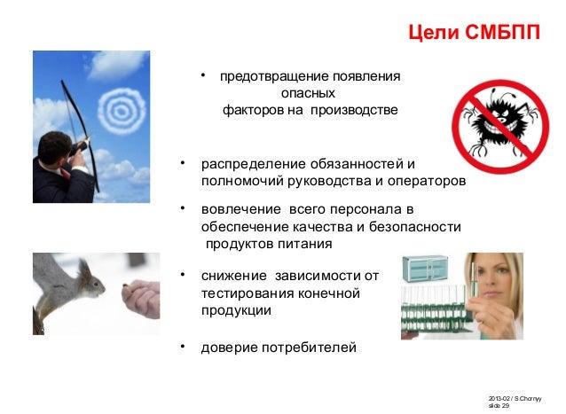 2013-02 / S.Chornyy slide 29 • предотвращение появления опасных факторов на производстве Цели СМБПП • снижение зависимости...