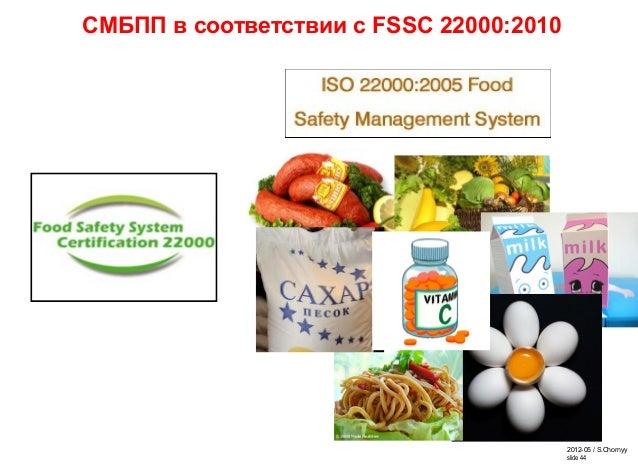2012-05 / S.Chornyy slide 44 СМБПП в соответствии с FSSC 22000:2010