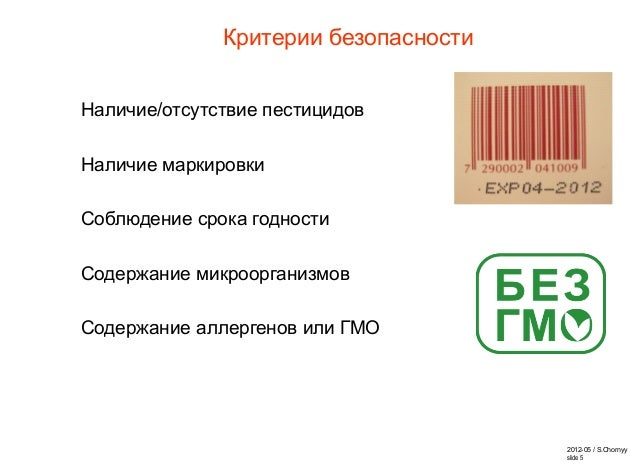 2012-05 / S.Chornyy slide 5 Критерии безопасности Наличие/отсутствие пестицидов Наличие маркировки Соблюдение срока годнос...