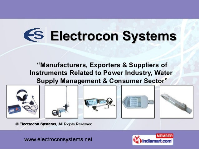 """Electrocon Systems  """"Manufacturers, Exporters & Suppliers ofInstruments Related to Power Industry, Water  Supply Managemen..."""