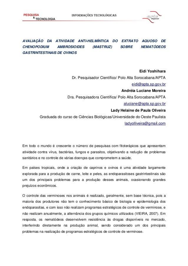 AVALIAÇÃO DA ATIVIDADE ANTI-HELMÍNTICA DO EXTRATO AQUOSO DE CHENOPODIUM AMBROSIOIDES (MASTRUZ) SOBRE NEMATÓDEOS GASTRINTES...