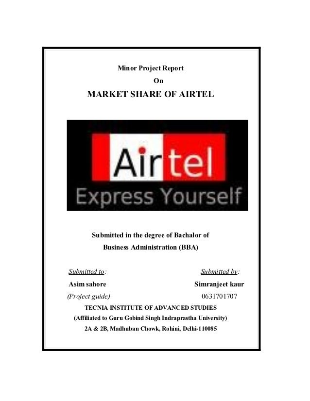 1111                          Minor Project Report                                      On               MARKET SHARE OF A...