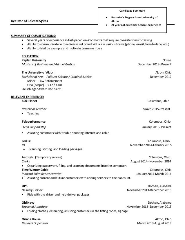 Celeste Sykes 2015 Resume