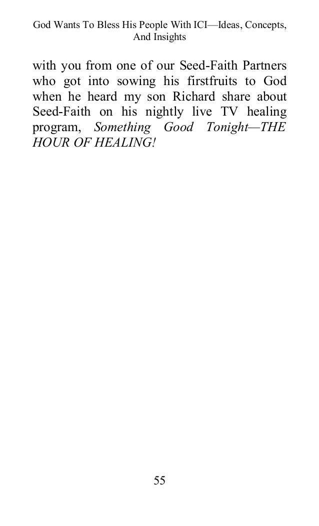Authoritative Oral roberts seed faith