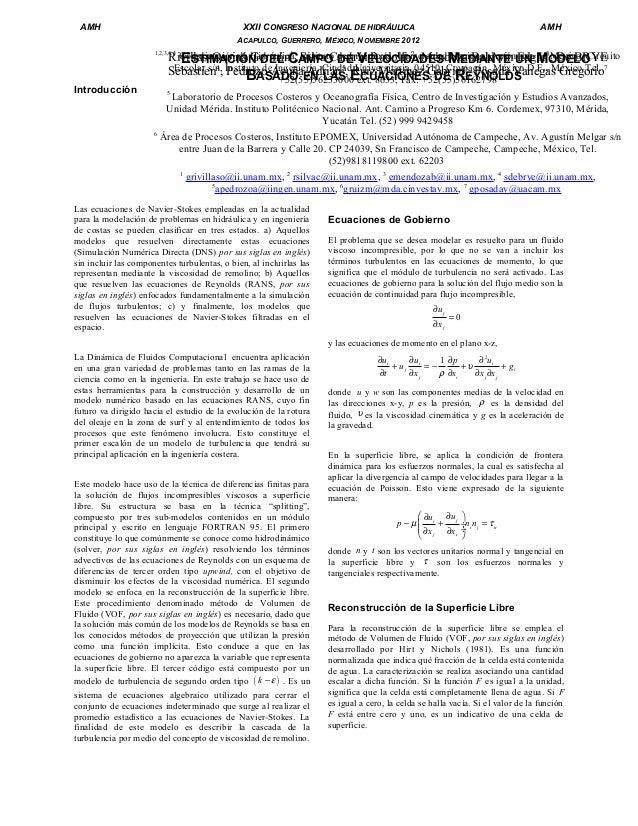 AMH  XXII CONGRESO NACIONAL DE HIDRÁULICA  AMH  ACAPULCO, GUERRERO, MÉXICO, NOVIEMBRE 2012  Coordinación de Hidráulica, In...