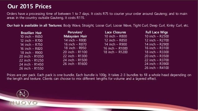 Nuovo Hair Extensions Price List 2015