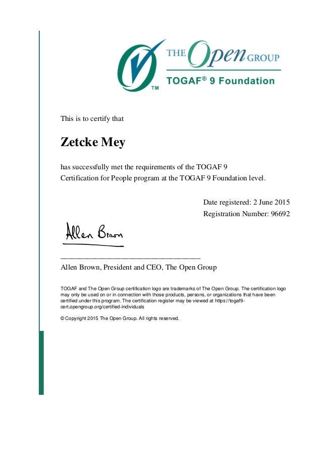 togaf certification certificate foundation slideshare ntombi tuge upcoming