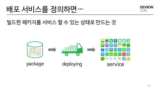 배포 서비스를 정의하면… 빌드한 패키지를 서비스 할 수 있는 상태로 만드는 것 12 servicedeployingpackage