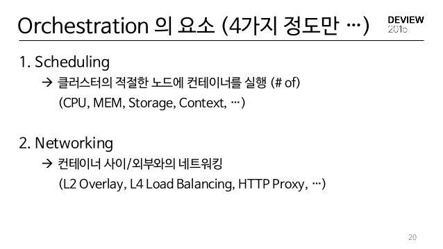 Orchestration 의 요소 (4가지 정도만 …) 20 1. Scheduling  클러스터의 적절한 노드에 컨테이너를 실행 (# of) (CPU, MEM, Storage, Context, …) 2. Network...