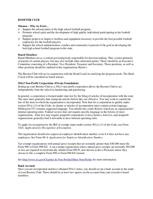 Building a Football Program FINAL BOOKLET – Club Bylaws Template
