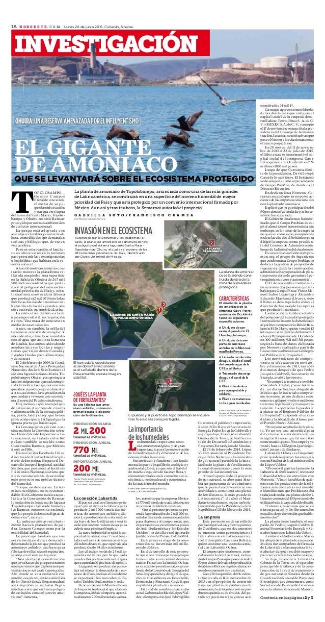 1 OHUIRA:UNARESERVAAMENAZADAPORELINFLUYENTISMO La planta de amoniaco de Topolobampo, anunciada como una de las más grandes...