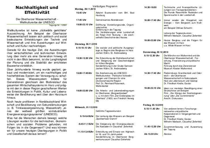 Nachhaltigkeit und                                                Vorläufiges Programm                                    ...