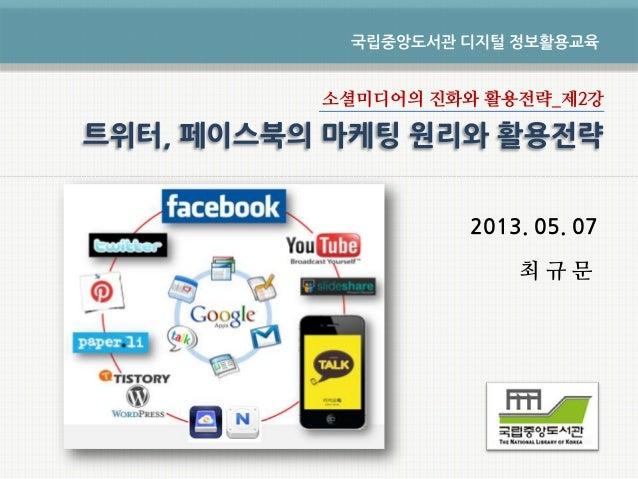 소셜미디어의 진화와 활용전략_제2강2013. 05. 07최 규 문국립중앙도서관 디지털 정보활용교육트위터, 페이스북의 마케팅 원리와 활용전략