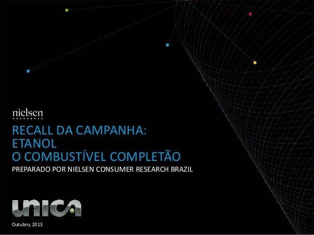 RECALL DA CAMPANHA: ETANOL O COMBUSTÍVEL COMPLETÃO PREPARADO POR NIELSEN CONSUMER RESEARCH BRAZIL  Outubro, 2013