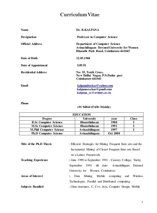 Mphil Computer Science Resume Format And Sample. Resume M Phil