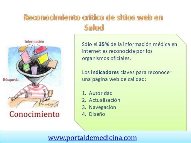 Sólo el 35% de la información médica en Internet es reconocida por los organismos oficiales. Los indicadores claves para r...