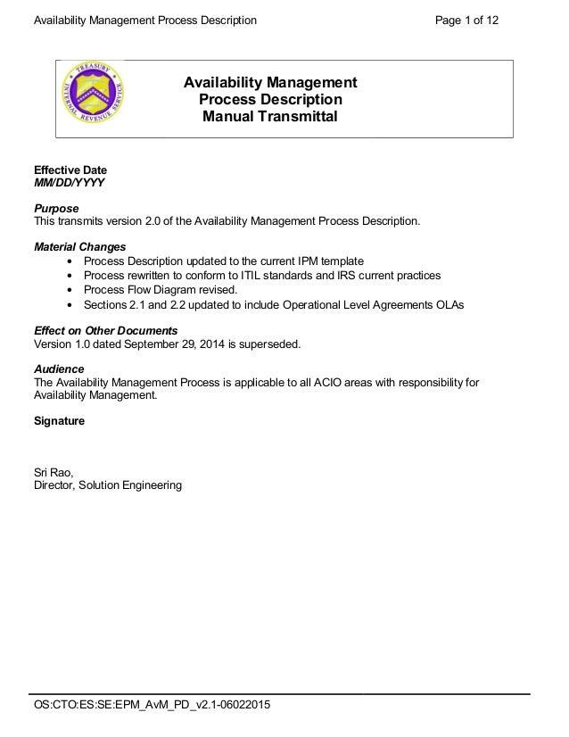 Availability Management Pd V21 06022015