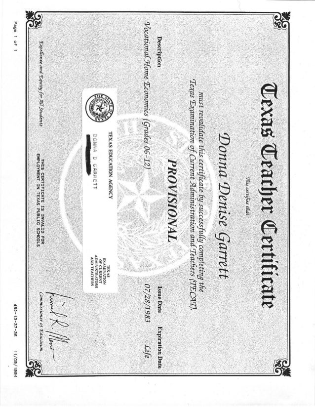 Texas Teacher Certificate