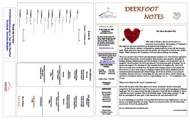 DEERFOOT DEERFOOT DEERFOOT DEERFOOT NOTES NOTES NOTES NOTES February 14, 2021 WELCOME TO THE DEERFOOT CONGREGATION We want...