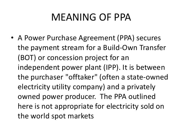 Power Purchase Agreements Sample Power Purchase Agreement Sample