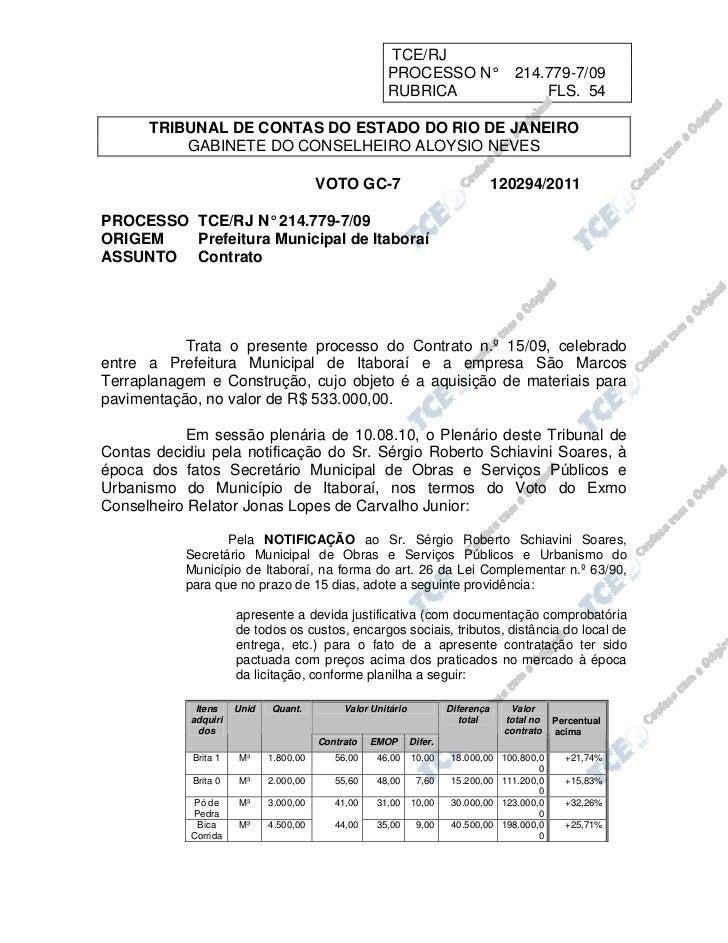 TCE/RJ                                                      PROCESSO N°                     214.779-7/09                  ...