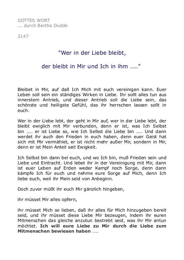 """GOTTES WORT ... durch Bertha Dudde 2147 """"Wer in der Liebe bleibt, der bleibt in Mir und Ich in ihm ...."""" Bleibet in Mir, a..."""
