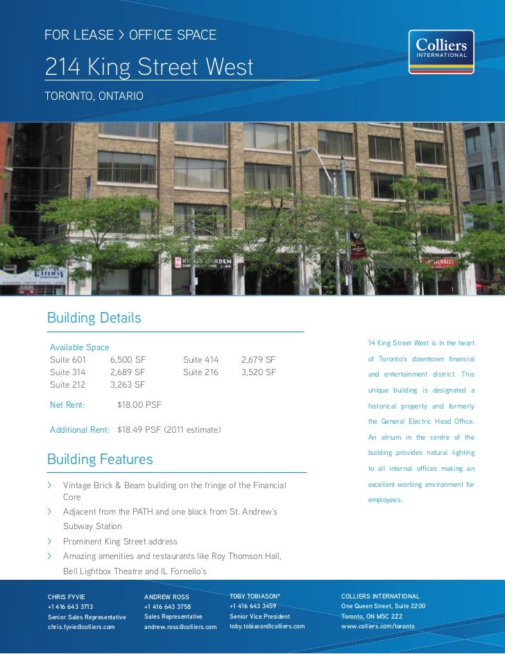 FOR LEASE > OFFICE SPACE214 King Street WestTOROnTO, OnTARIOBuilding Details                                              ...