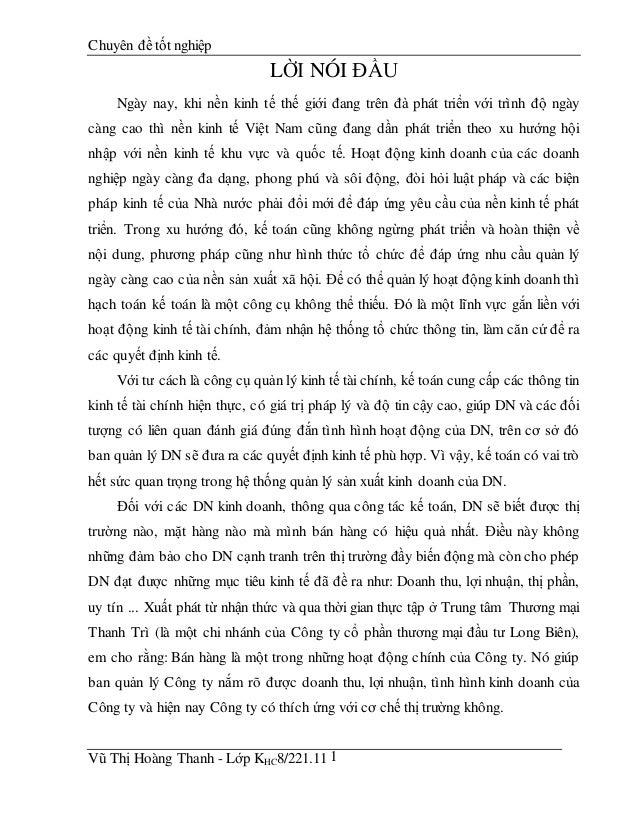 Chuyên đề tốt nghiệp Vũ Thị Hoàng Thanh - Lớp KHC8/221.11 1 LỜI NÓI ĐẦU Ngày nay, khi nền kinh tế thế giới đang trên đà ph...