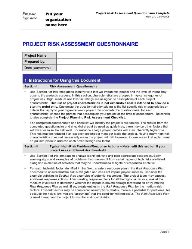 project risk assessment questionnaire. Black Bedroom Furniture Sets. Home Design Ideas