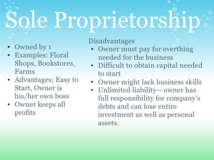 sox and fasb implications to sole proprietorship Proprietorships generally, sole proprietorships are eligible to use either cash or accrual a sole proprietor may use the accrual method for the business and the cash method for nonbusiness income and deductions.