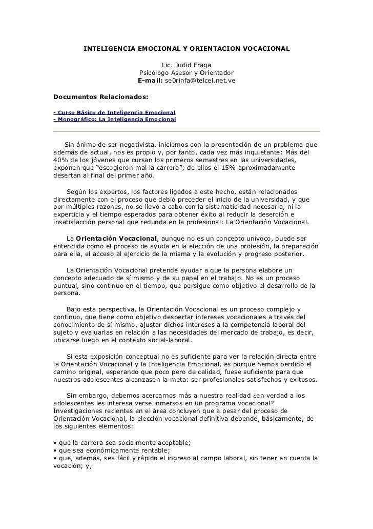 INTELIGENCIA EMOCIONAL Y ORIENTACION VOCACIONAL                                  Lic. Judid Fraga                         ...