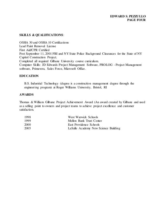 2016 Resume And Construction Project Hist Ory
