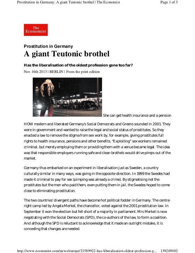 Prostitution in Germany: A giant Teutonic brothel | The Economist  Page 1 of 3  Prostitution in Germany  A giant Teutonic ...