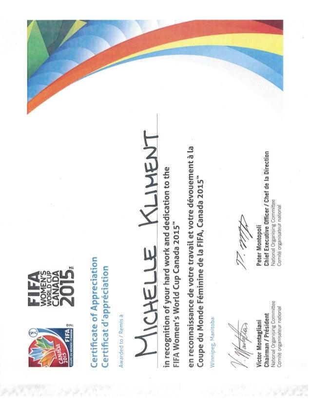 fifa volunteer recognition certificate