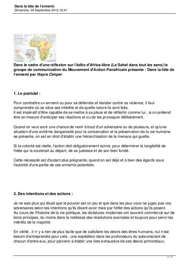 Dans la tête de lennemi.Dimanche, 09 Septembre 2012 16:41Dans le cadre dune réflexion sur lédito dAfrica-libre (Le Sahel d...