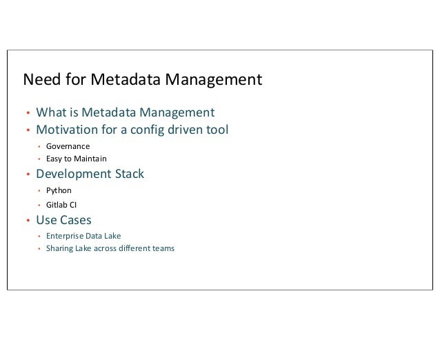 Automated Metadata Management in Data Lake – A CI/CD Driven Approach Slide 3