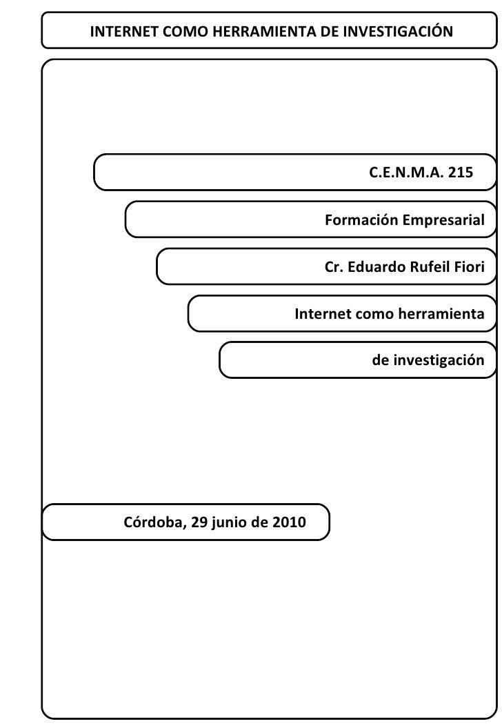 INTERNET COMO HERRAMIENTA DE INVESTIGACIÓN C.E.N.M.A. 215  Cr. Eduardo Rufeil Fiori Formación Empresarial Internet como he...