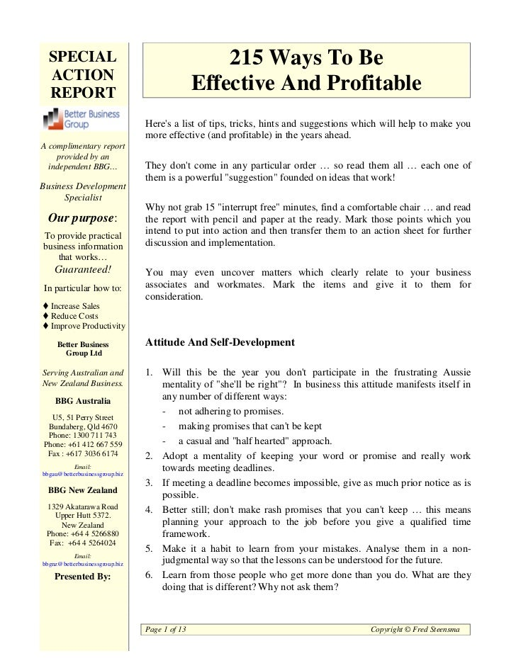 SPECIAL                                          215 Ways To Be  ACTION  REPORT                                       Effe...